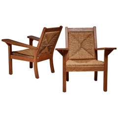 Pair of 1920 Rattan and Oak Armchairs, Germany