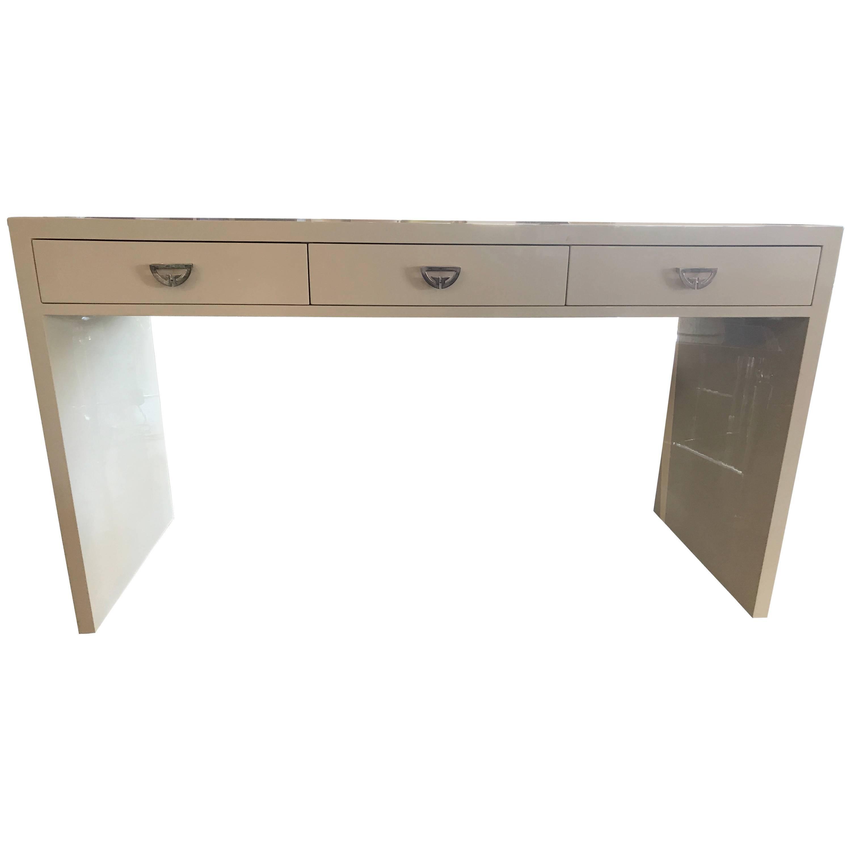Nancy Corzine Three Drawer Desk In Ivory Lacquer