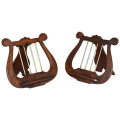 Pair of Antique English Lyre Music Stands