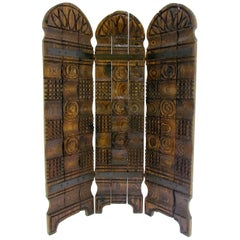 Antique Italian 4 Panel Leather Chinoiserie Screen Or Room