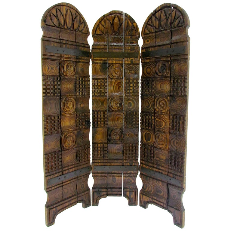 Witco Tiki Carved Wood Three-Panel Screen or Room Divider, circa 1960s