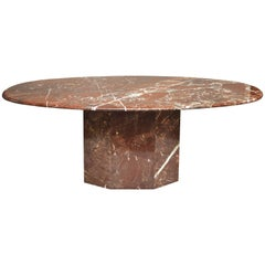 Midcentury Oval Marble Dining Table
