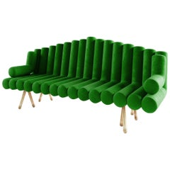 21st Century Custom Handmade Contemporary Velvet and Solid Brass Leg Sofa