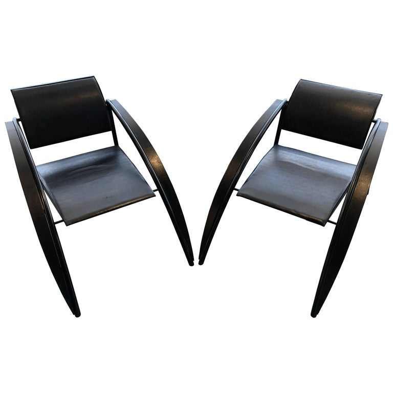 Pair of Rare Jean-Louis Godivier Sleek, 1980s Armchairs