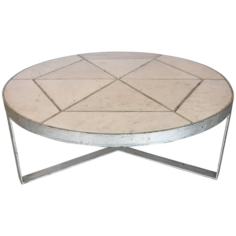 Silver Leaf Over Iron With Marble Inset In Round Coffee Table From Europe For Sale At 1stdibs