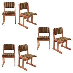 Set of Six Danish Midcentury Oak Side Chairs with Flagline Cording