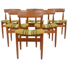 Set of Six Hans Olsen Teak Dining Chair with Danish Stripped Wool Seats, 1966