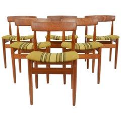 Set of Six Hans Olsen Teak Dining Chair with Danish Stripped Wool Seats, 1966
