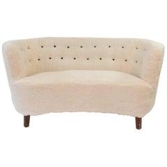 Slagelse Møbelværk Lambs Wool Upholstered Banana Shape Loveseat