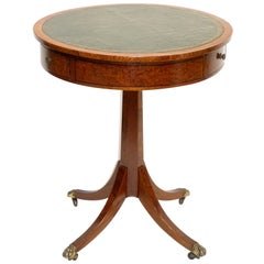 Georgian Style Mahogany and Burl Wood Pedestal Table, England, circa 1900