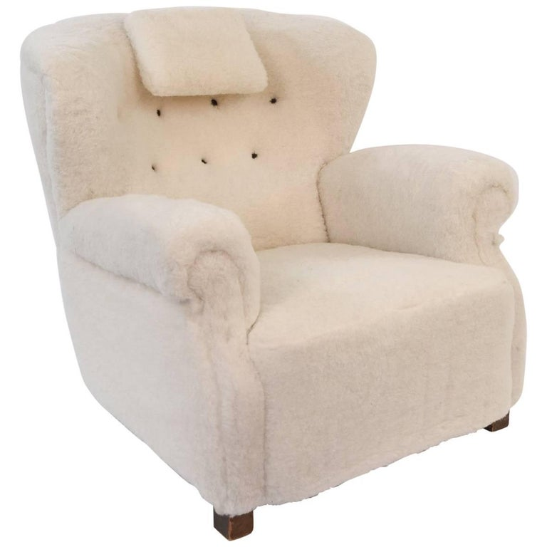 Style of Fritz Hansen Easy Chair in Lambs Wool Upholstery
