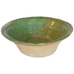 19th Century Spanish Green Ceramic Bowl