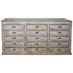 Spanish Late 19th Century 12 Drawer Kitchen Buffet with Later Paint on Pine Wood