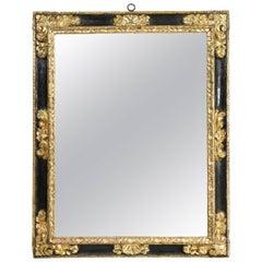 Spanish Baroque Ebonized and Giltwood Mirror