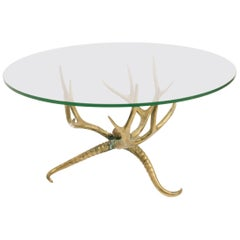 1960s Brass Antler Coffee Table
