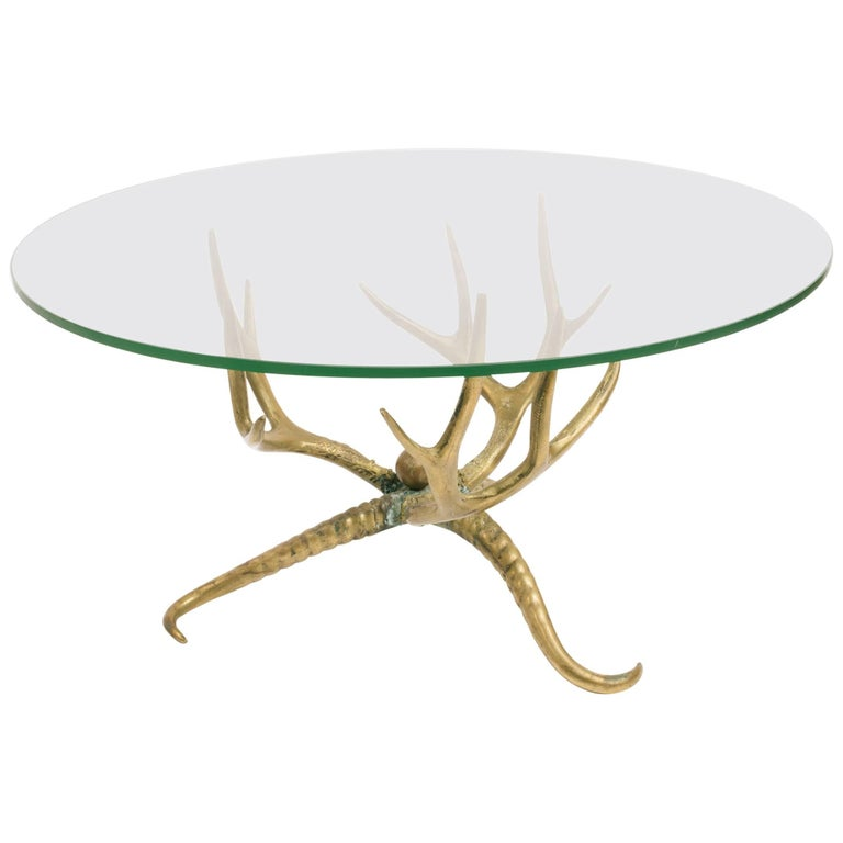 1960s Brass Antler Coffee Table For Sale At 1stdibs