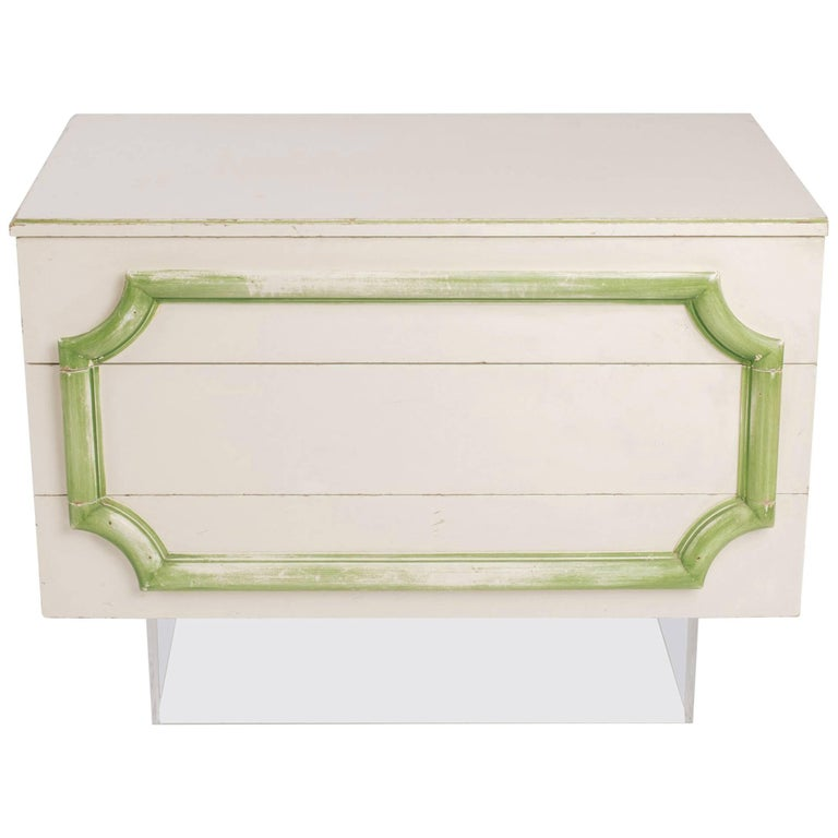 1970s custom made three drawer chest on lucite base for for 1 case of table paper