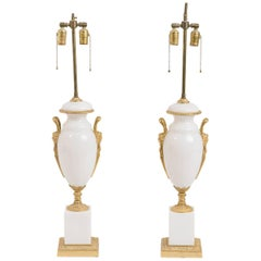 Pair of 1960s Italian White Opaline Glass Classical Lamps