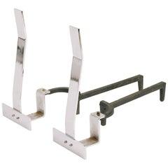 1960s Minimalist Flat Bar Steel Andirons