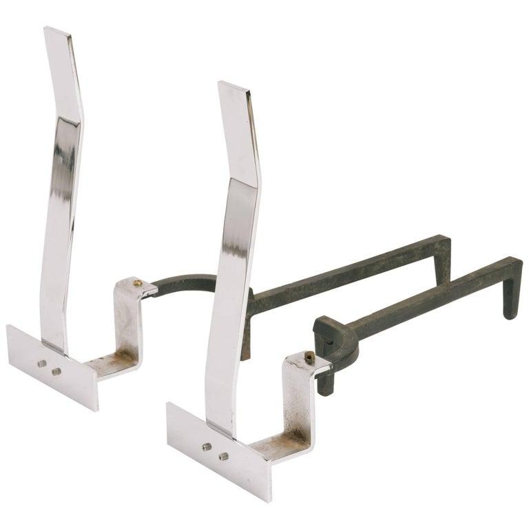 1960s Minimalist Flat Bar Steel Andirons For Sale