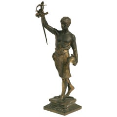 1880s French Bronze Sculpture of a Soldier Signed Boffil