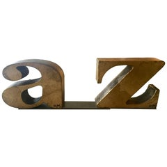 Pair of C. Jere Gilt A-Z Bookends 1971