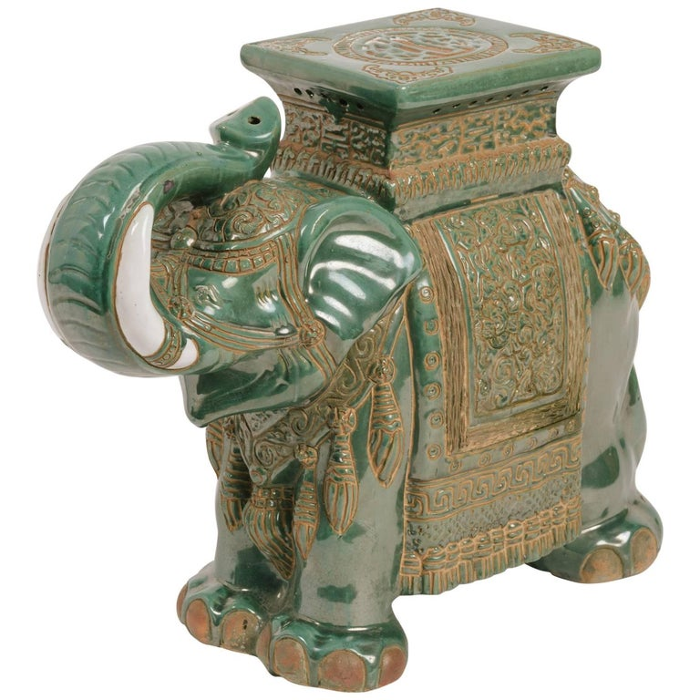 elephant side table bronze ceramic elephant side table for sale at 1stdibs