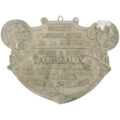 1940s French Bull Plaque 'Trophy'