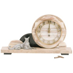 1930s Deco Marble Clock with Dog