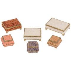 Set of Six Quartz and Coral Boxes
