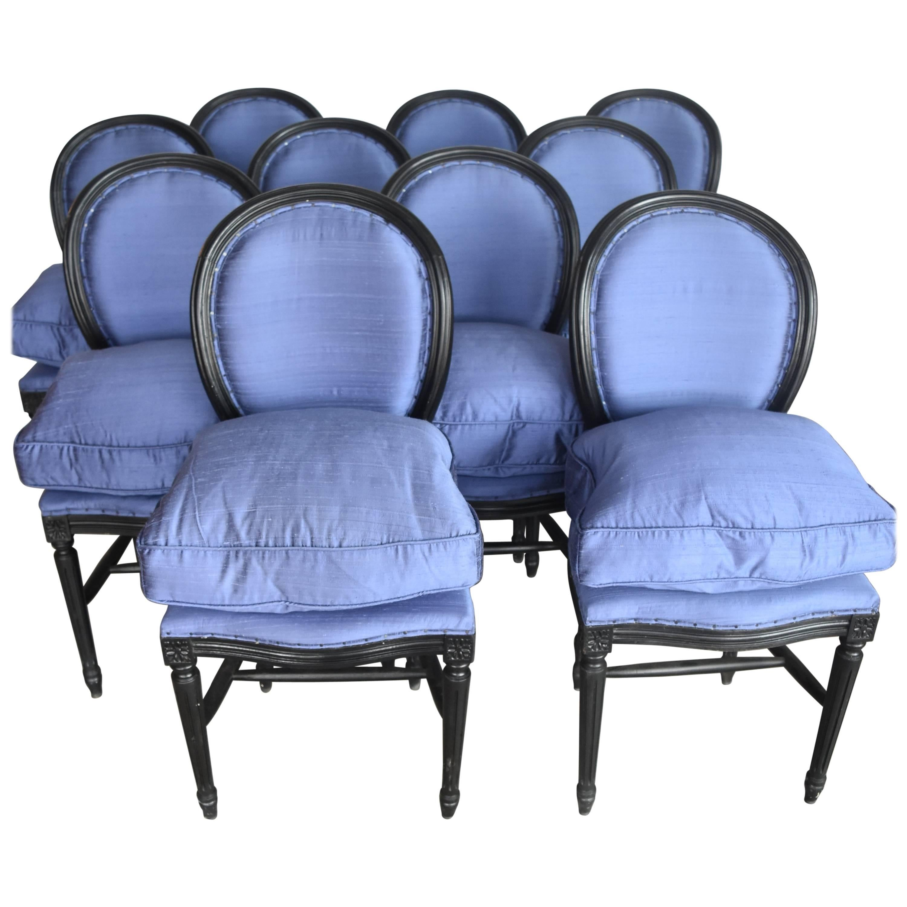 French 1920 Louis XVI Set Of Ten Round Back Chairs With Dupioni Silk  Upholstery