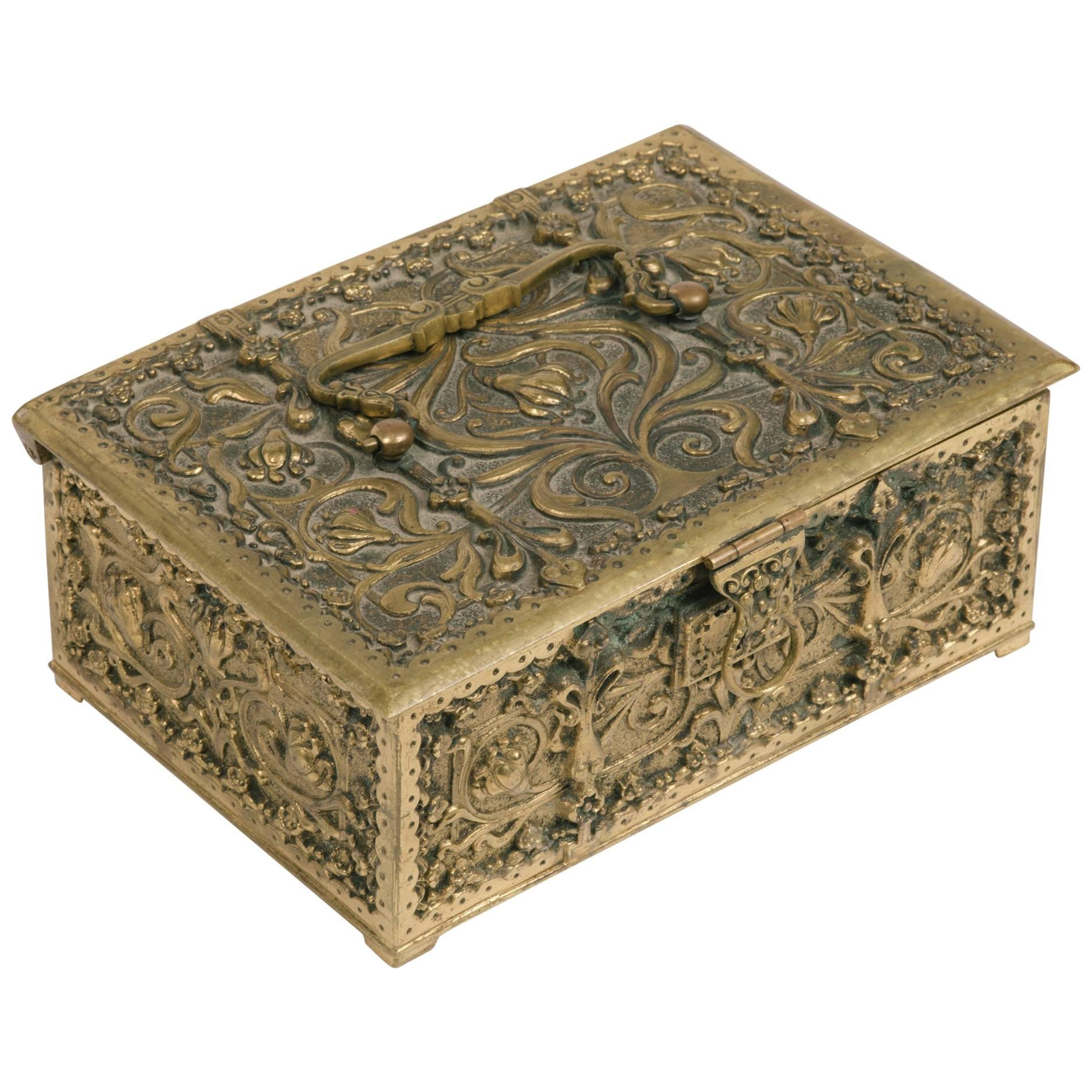 1880s English Brass Gothic Box with Handle