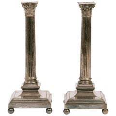 Pair of Large 1880s English Silver Plate Column Candlesticks