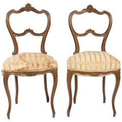 Pair of 1880s, French Carved Wood Side Chairs
