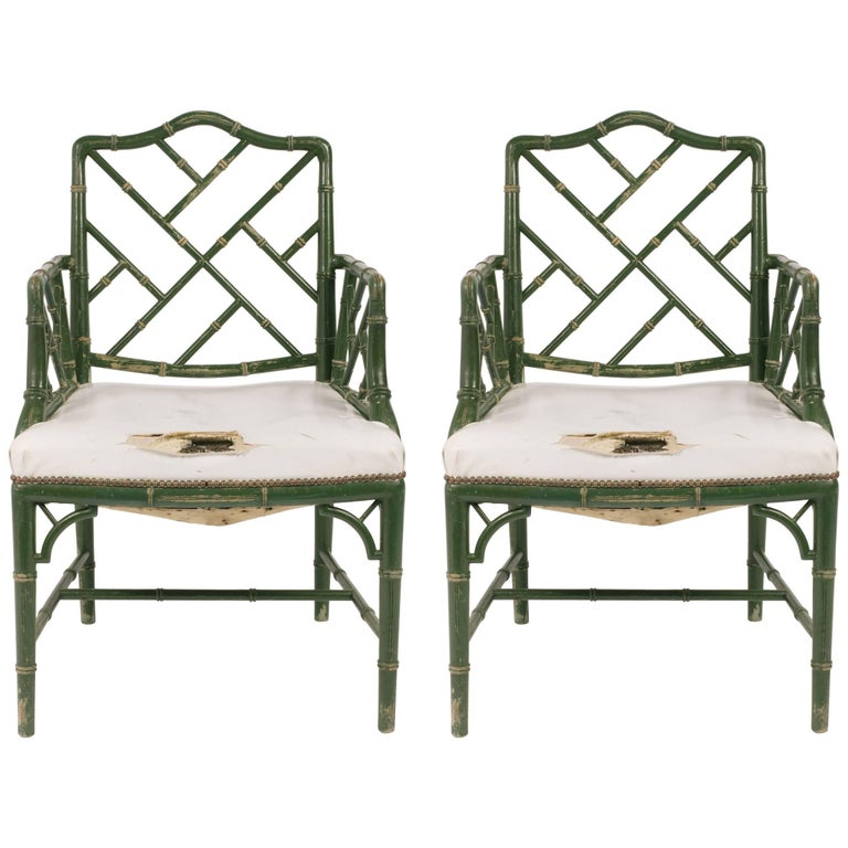 Pair of 1960s Faux Bamboo Wood Armchairs