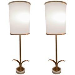 Pair of Paul Hanson Brass Candlestick Table Lamps
