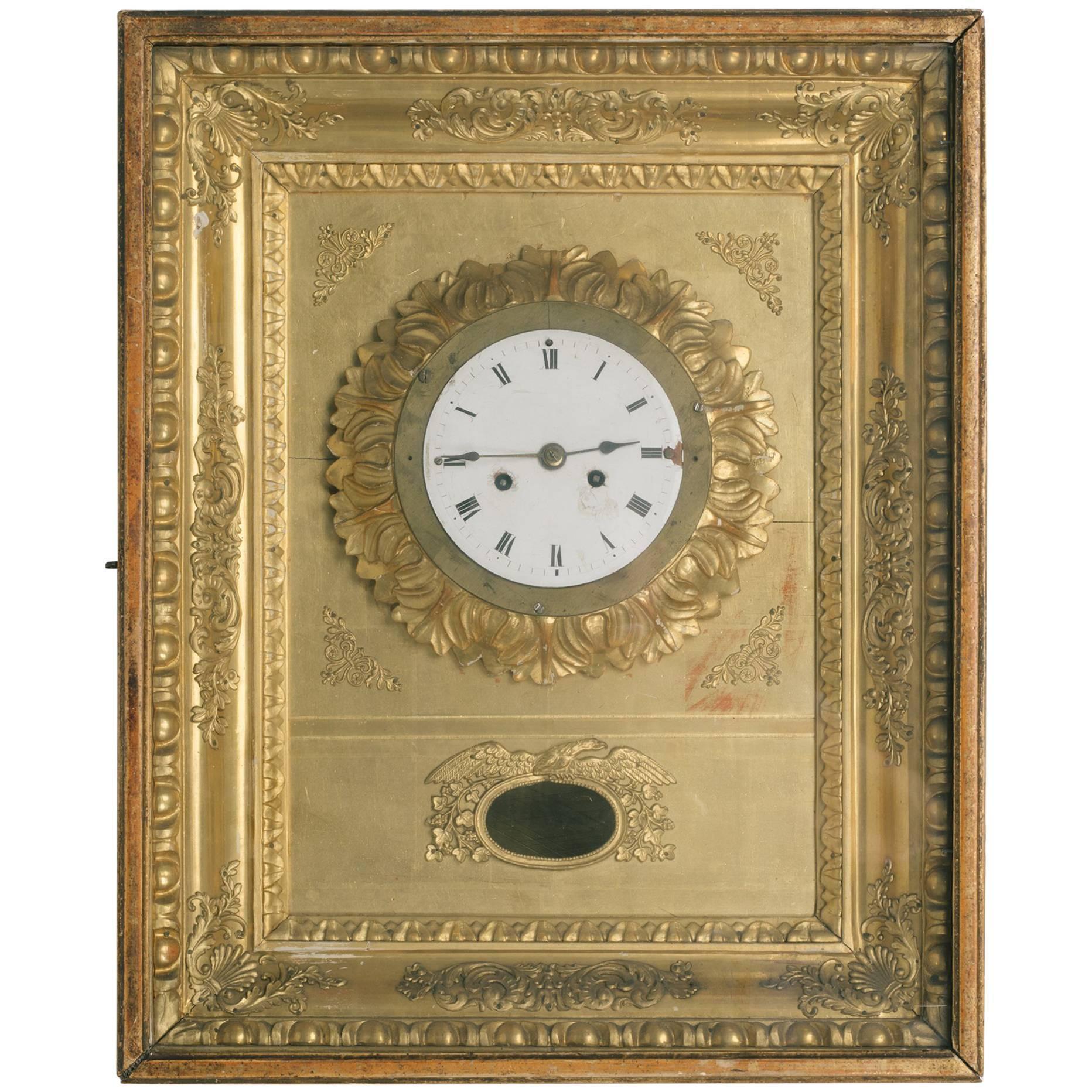 19th Century French Gilt Wall Clock