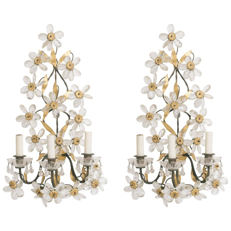 1950s Italian Crystal and Gilt Metal Floral Sconces