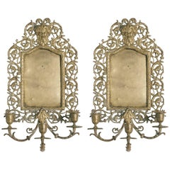 Pair of Turn of the Century English Brass Sconces with Male Faces