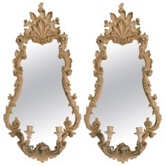 Pair of 1950s Italian Carved Wood Mirrors with Sconces