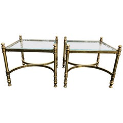 Pair of Hollywood Regency Brass and Glass End Tables