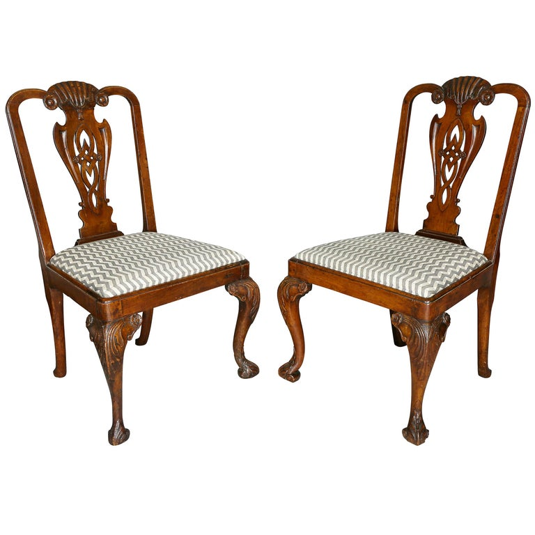 Pair of George II Walnut Side Chairs For Sale