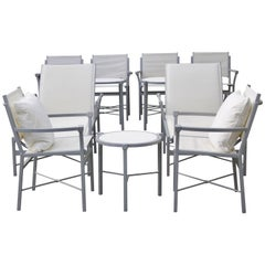 10 Piece Set Outdoor Pavillion Garden Furniture, Chic Design Gray and White