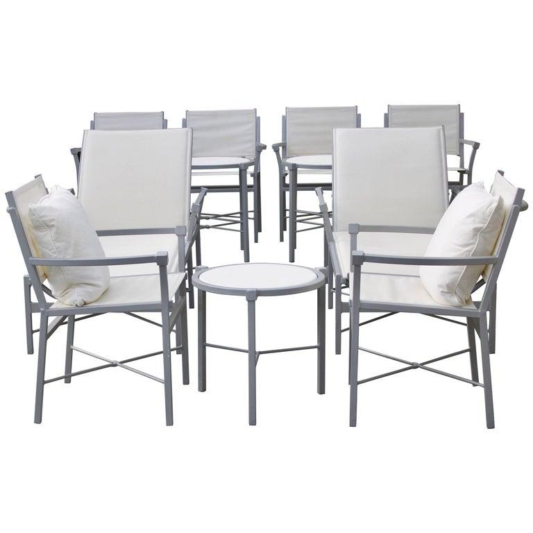 11 Piece Set Outdoor Pavillion Garden Furniture, Chic Design Gray and White