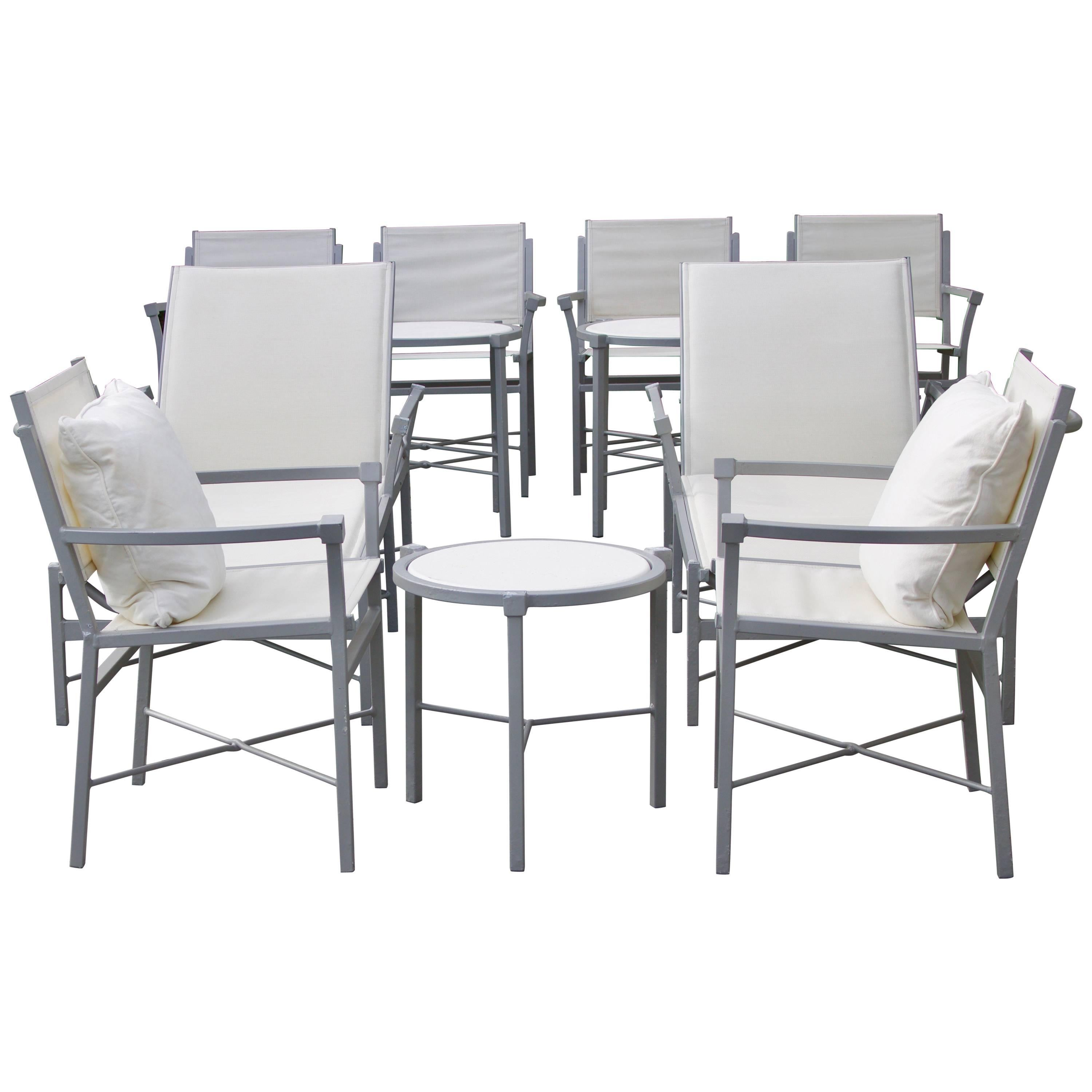 Set Of 11 Pieces Outdoor Pavillion Garden Furniture, Chic Design Gray And  White 1