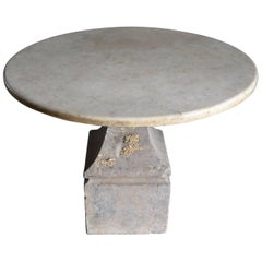 18th Century Italian Stone Base with Marble Top Pedestal Table