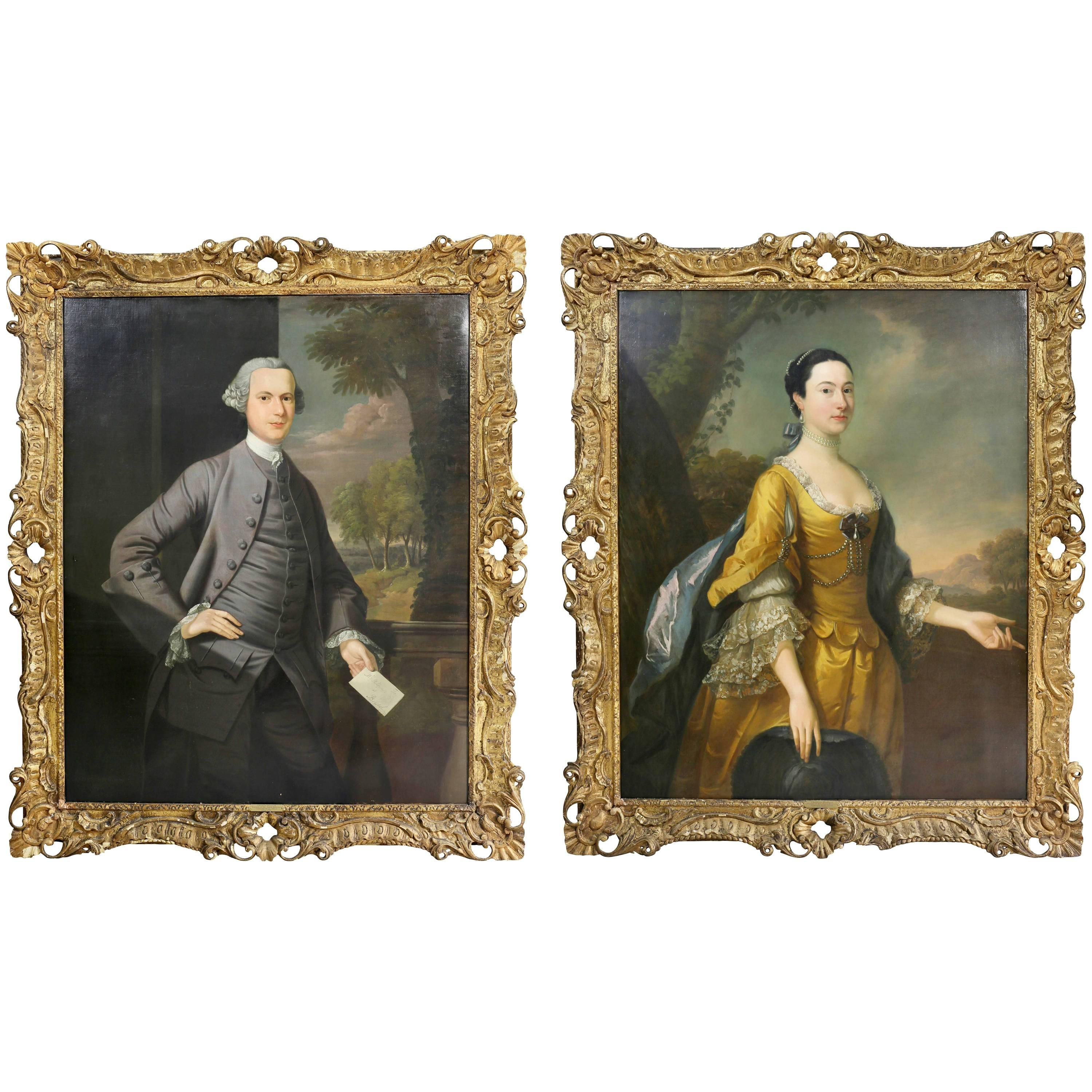 Pair of Portraits of Mr and Mrs Hillhouse by Thomas Hudson