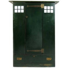 C R Mackintosh Guthrie & Wells, Glasgow School Stained Green Cypress Wardrobe