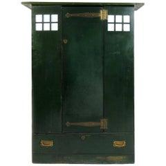 C R Mackintosh Guthrie & Wells, Glasgow School Stained Green Cypress Wardrobe