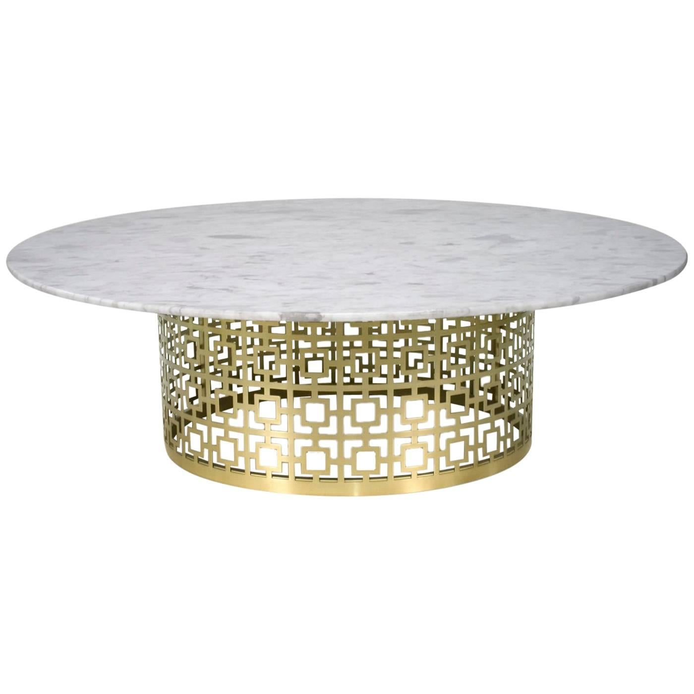 Awesome Nixon Brass And Marble Cocktail Table For Sale